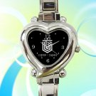 cute topp dogg logo hansol xero hearts logo heart charm watches stainless steel