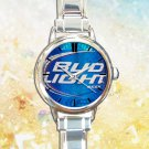 cute Bud light beer can round charm watches stainless steel