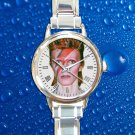 cute david bowie art aladdin round charm watches stainless steel