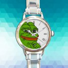 cute Smug Pepe Pepe The Frog round charm watches stainless steel
