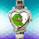 cute Smug Pepe Pepe The Frog hearts logo heart charm watches stainless steel