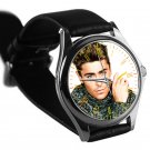 cool Zac Efron leather silver Wristwatches