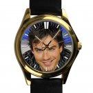cool ian somerhalder vampire diaries damon salvatore smile leather gold Wristwatches