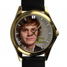 cool evan peters signature leather gold Wristwatches