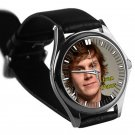 cool evan peters signature leather silver Wristwatches