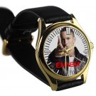 cool eminem berzerk album hip hop leather gold Wristwatches