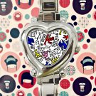 cute Keith Haring Art design heart charm watches stainless steel