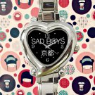 cute Sad Boys Yung Lean heart charm watches stainless steel