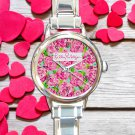 cute Lilly Pulitzer Lobstah Roll round charm watches stainless steel