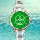 cute zija logo round charm watches stainless steel
