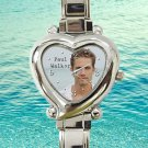 cute Paul walker RIP heart charm watches stainless steel