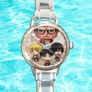 cute chibi attack on titans shield round charm watches stainless steel