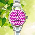 cute Browning deer pink chevron round charm watches stainless steel