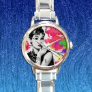 cute audrey hepburn vintage round charm watches stainless steel