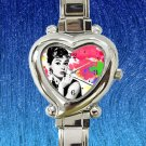 cute audrey hepburn vintage heart charm watches stainless steel
