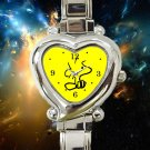 cute woodstock peanuts growing with snoopy heart charm watches stainless steel
