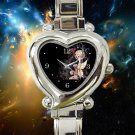 cute Fairy Girl Holding Skull heart charm watches stainless steel