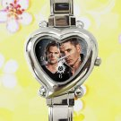 cute supernatural sam dean  JENSEN ACKLES heart charm watches stainless steel