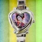 cute Geisha Girl Designs heart charm watches stainless steel