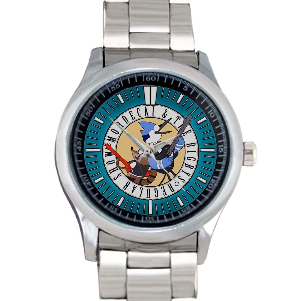 cool Regular Show Mordecai and Rigby oooohhh Stainless Steel Wristwatches