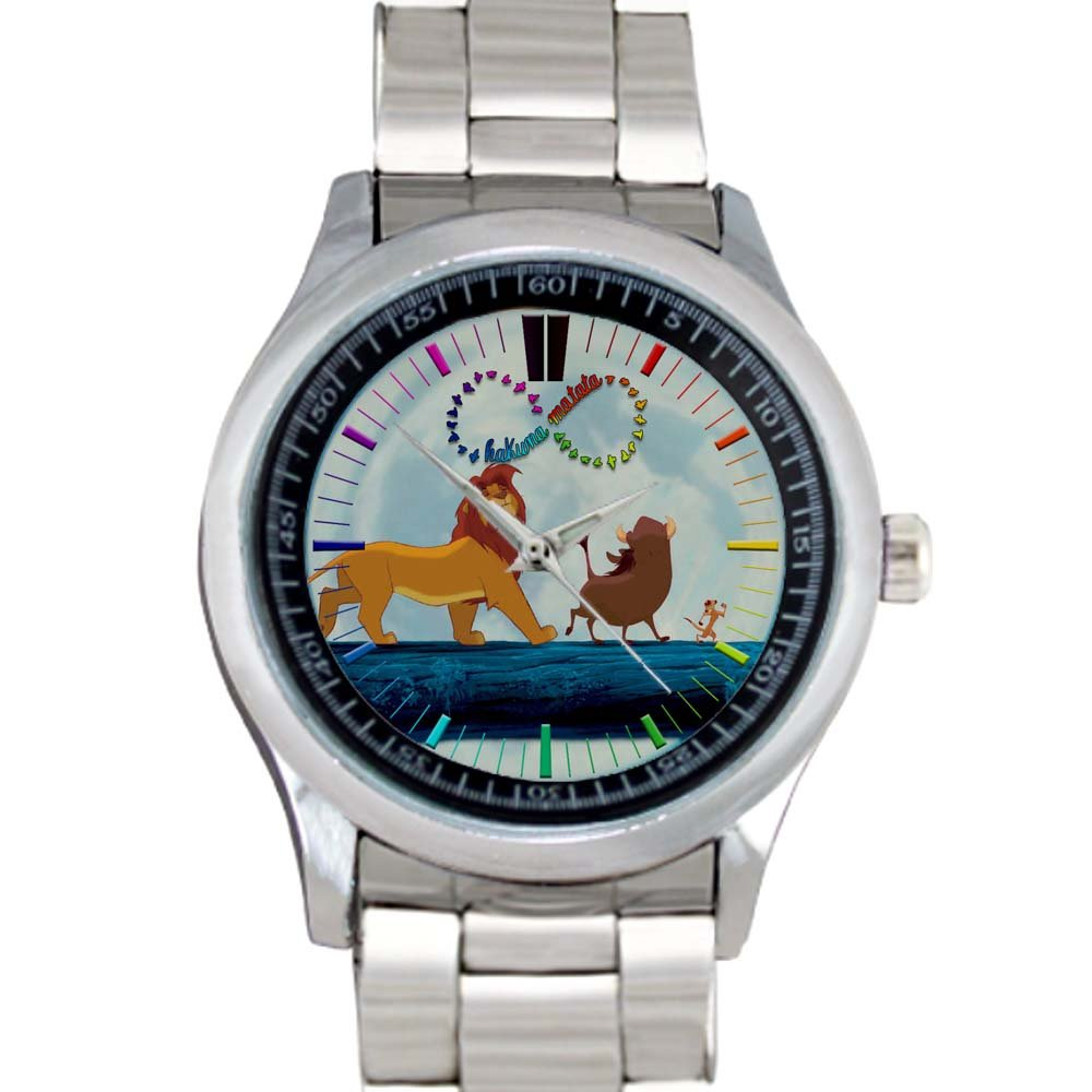 cool hakuna matata lion king simba Stainless Steel Wristwatches