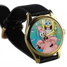 cool Spongebob patrick quote best friend forever BFF leather gold Wristwatches