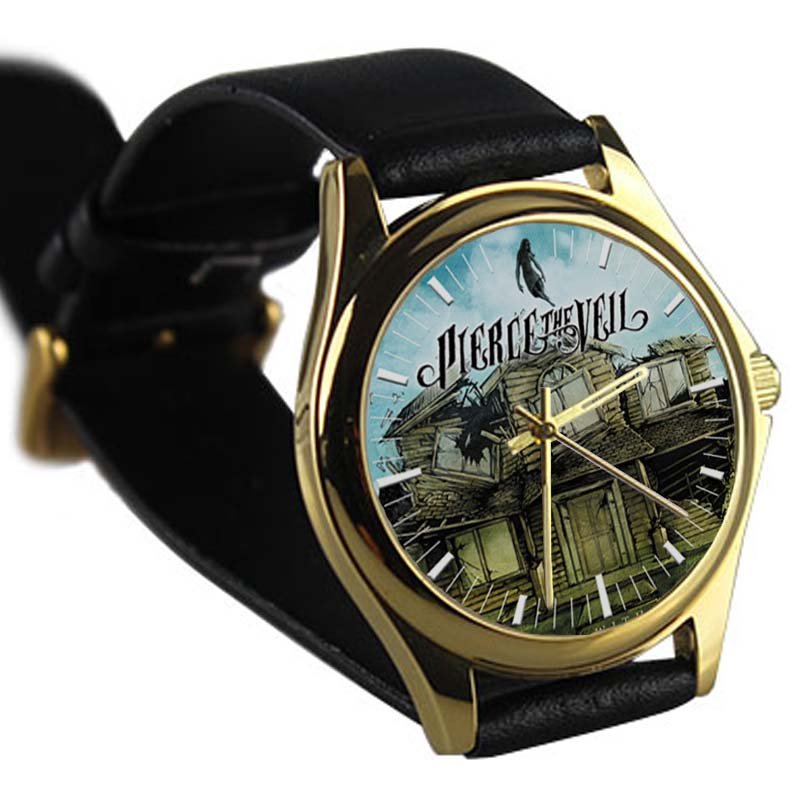 cool pierce the veil Vic mike Fuentes leather gold Wristwatches