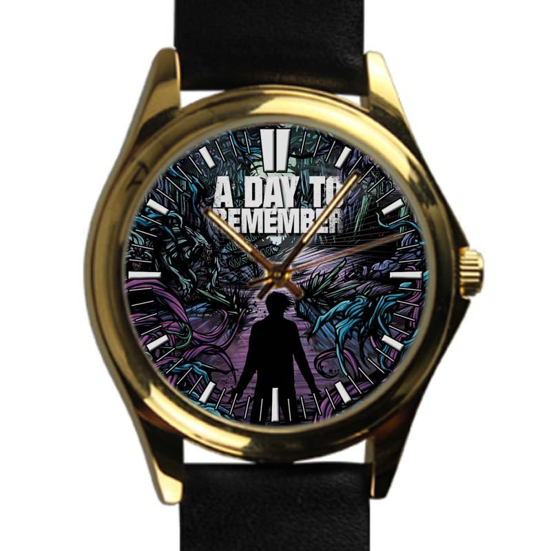 cool A DAY TO REMEMBER Rock Common Courtesy Band leather gold Wristwatches