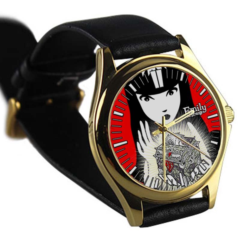 cool Emily the Strange TAILLENband leather gold Wristwatches