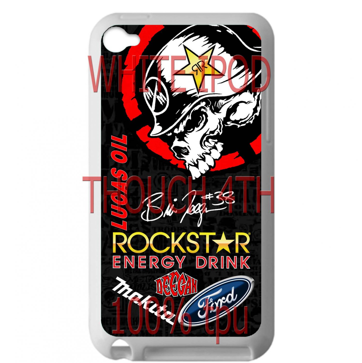 brian deegan ford rally metal mulisha sign fit for ipod touch 4 white case cover