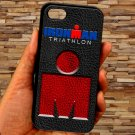 triathlon logo ironman leather pattern fit for iphone 4 4s black case cover