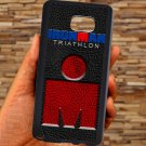 triathlon logo ironman leather pattern fit for samsung galaxy note 5 black case cover