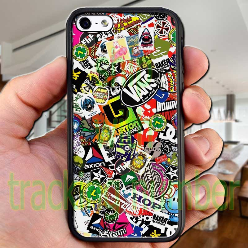 "sticker bomb racing vans shorty's hop fit for iphone 6 plus 5.5"" black case cover"