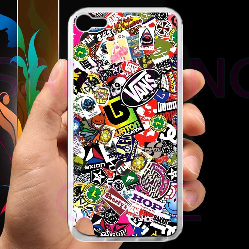 sticker bomb racing vans shorty's hop fit for ipod touch 5 white case cover