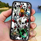 sticker bomb racing skull slash skeleton fit for iphone 4 4s black case cover