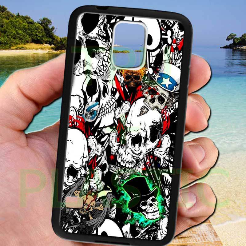 sticker bomb racing skull slash skeleton fit for samsung galaxy S5 S 5 S V black case cover