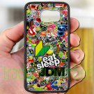 Eat Sleep JDM sticker bomb ghostbusters subaru fit for samsung galaxy S6 S 6 S VI black case cover