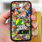 Eat Sleep JDM sticker bomb ghostbusters subaru fit for samsung galaxy S4 S 4 S IV black case cover