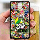 Eat Sleep JDM sticker bomb ghostbusters subaru fit for samsung galaxy note 3 black case cover