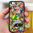"Eat Sleep JDM sticker bomb ghostbusters subaru fit for iphone 6 plus 5.5"" black case cover"