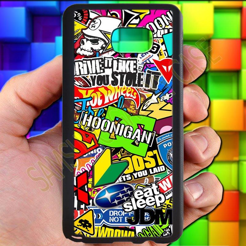 Eat Sleep JDM sticker bomb hoonigan subaru fit for samsung galaxy S6 S 6 S VI edge+ black case cover