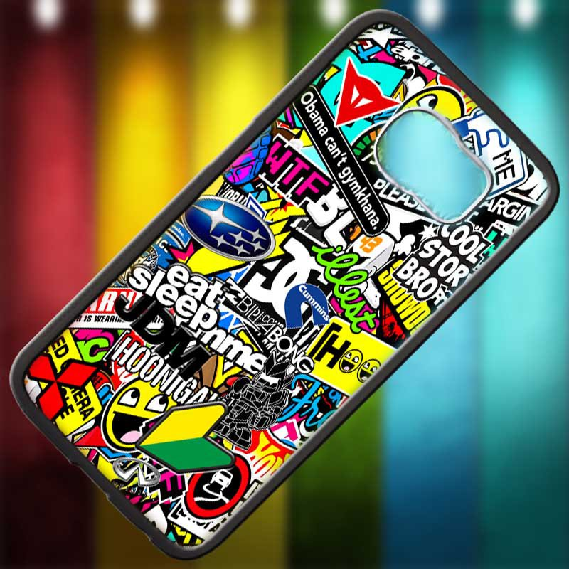 Eat Sleep JDM sticker bomb gymkhana illest subaru fit for samsung galaxy S6 edge black case cover