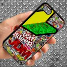 Eat Sleep JDM sticker bomb motocross dubway fit for iphone 4 4s black case cover