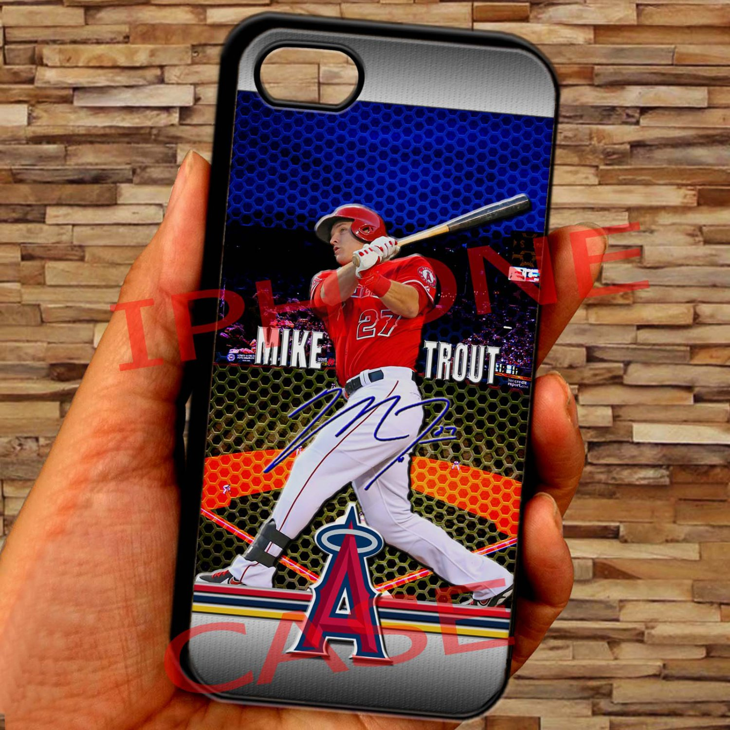 Mike Trout Baseball Jersey Los Angeles Angels fit for iphone 6s plus black case cover