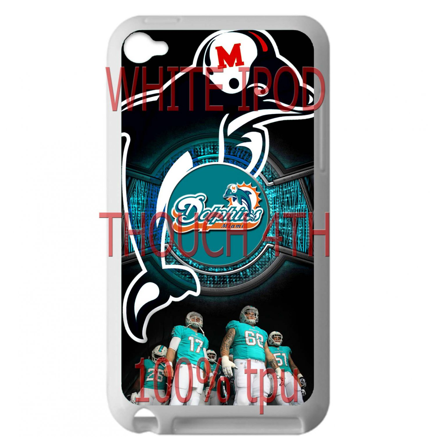 miami dolphins ryan tannehill fit for ipod touch 4 white case cover