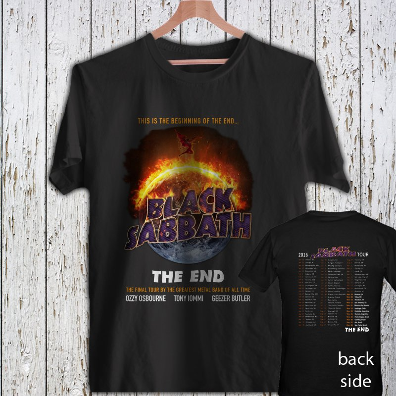 Black Sabbath The End Tour 2016 T-shirt Rock Band Concert black t-shirt tshirt shirts tee SIZE L