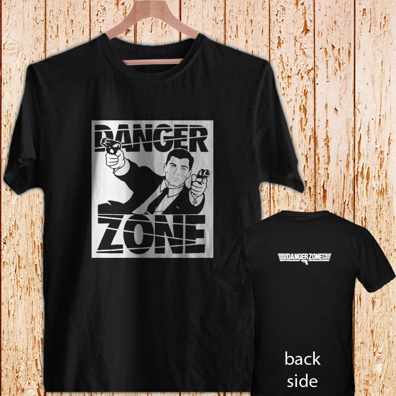 Archer Danger Zone FX TV Funny Cartoon black t-shirt tshirt shirts tee SIZE L