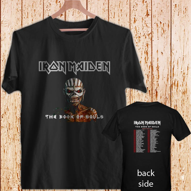 IRON MAIDEN THE BOOK OF SOULS TOUR DATES 2016 black t-shirt tshirt shirts tee SIZE 2XL