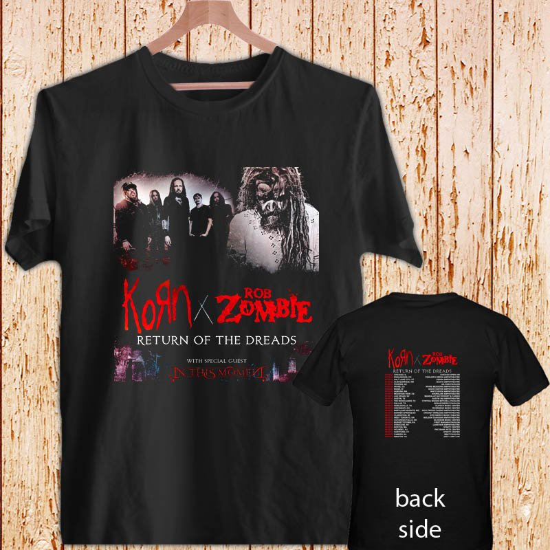 ROB ZOMBIE AND KORN RETURN OF THE DREADS 2016 black t-shirt tshirt shirts tee SIZE XL