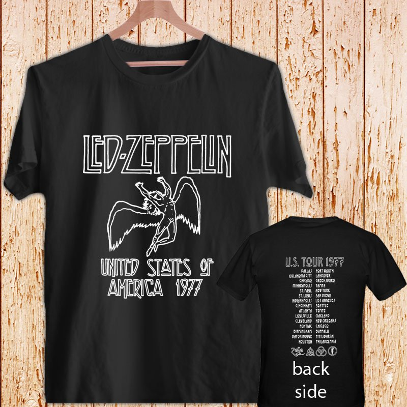 Led Zeppelin USA TOUR 77 T-Shirt 1977 Stairway black t-shirt tshirt shirts tee SIZE L